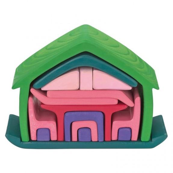 Gluckskafer poppenhuis roze/groen (523265)