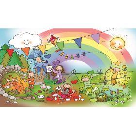 Ansichtkaart Regenboogkindjes - Wendy de Boer/ Unieke Postkaarten