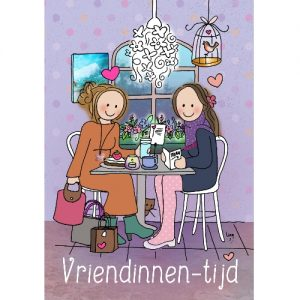 Ansichtkaart Vriendinnentijd - Wendy de Boer/ Unieke Postkaarten