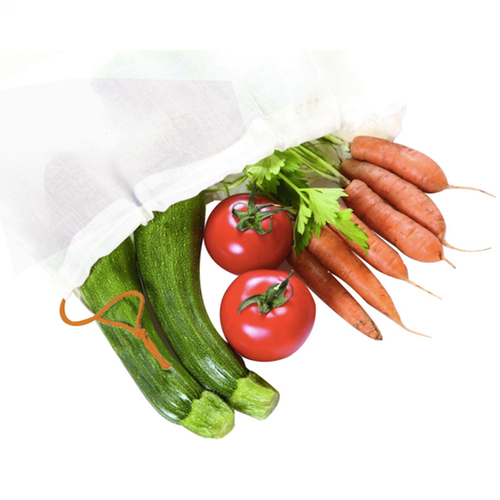 herbruikbare duurzame katoenen groentezak