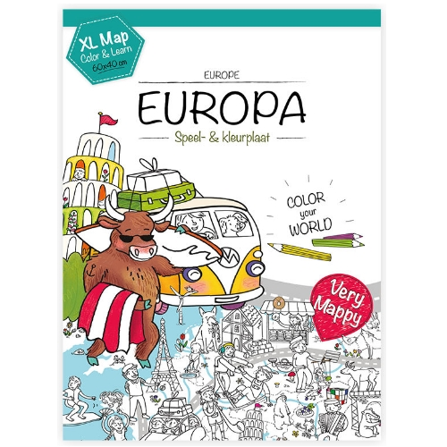 Kleurplaten Europa.Very Mappy Xl Klapper Europa Grappige Kleurplaat Van 60 X 40 Cm