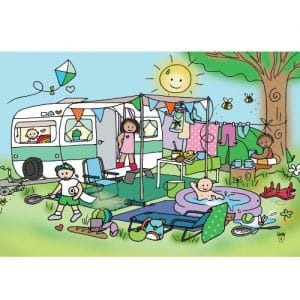 Ansichtkaart Camping- Wendy de Boer/ Unieke Postkaarten