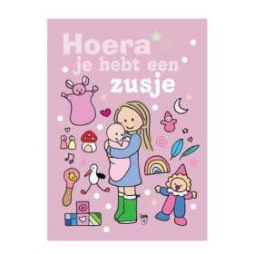 Ansichtkaart Meisje met zusje - Wendy de Boer/ Unieke Postkaarten