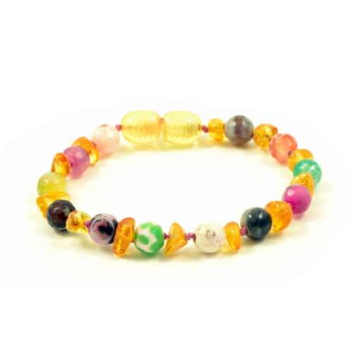 Barnsteenarmband Amber, kleurrijk Agaat