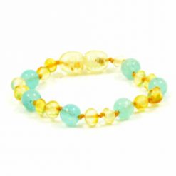 Barnsteenarmband Lemon, Aquamarijn
