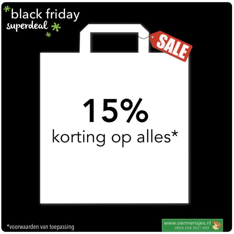 black friday 15 procent korting op alles