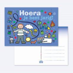 Ansichtkaart Hoera (blauw)
