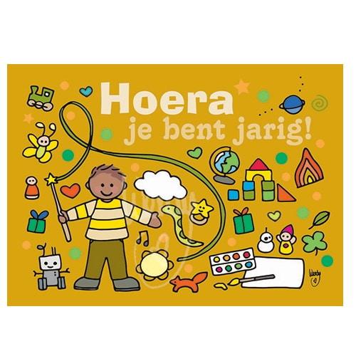 Ansichtkaart Hoera (geel)