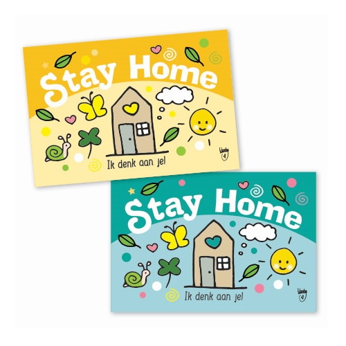 Ansichtkaart mini's - stay home