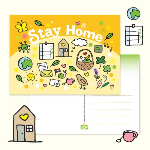 Ansichtkaart Stay home - Unieke Postkaarten