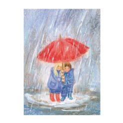 Ansichtkaart Onder de paraplu (Marjan van Zeyl)