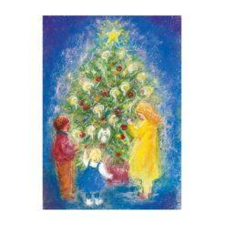 Ansichtkaart Rond de kerstboom (Marjan van Zeyl)