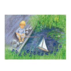 Ansichtkaart Varen met zeilboot (Marjan van Zeyl)