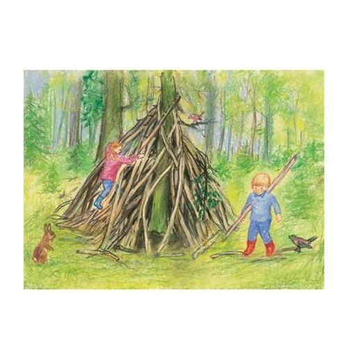 Ansichtkaart Onze hut in het bos (Marjan van Zeyl)