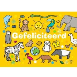 Ansichtkaart Gefeliciteerd (geel)